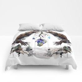Black Ravens In The Crystal Woods Comforters