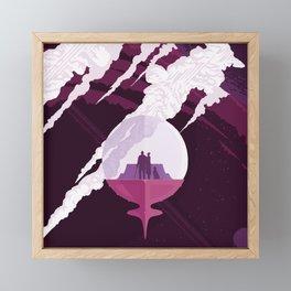 Enceladus Retro Space Poster : Eggplant Purple Pink Framed Mini Art Print