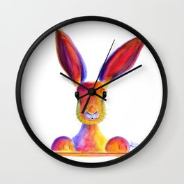 Happy Hare Rabbit ' JUST TO SAY HELLO ' by Shirley MacArthur Wall Clock
