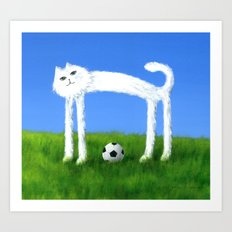 Skinny Cat With Soccer Ball Art Print