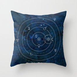 Planets Symbols on Nightsky Throw Pillow