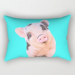 Baby Pig Turquoise Background Rectangular Pillow