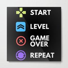 Start Level GameOver Repeat Metal Print