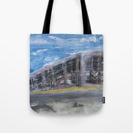 Moving A Train on NYC MTA Platform Tote Bag