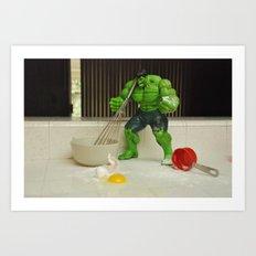 Green Hulk Don't Like Cooking Art Print