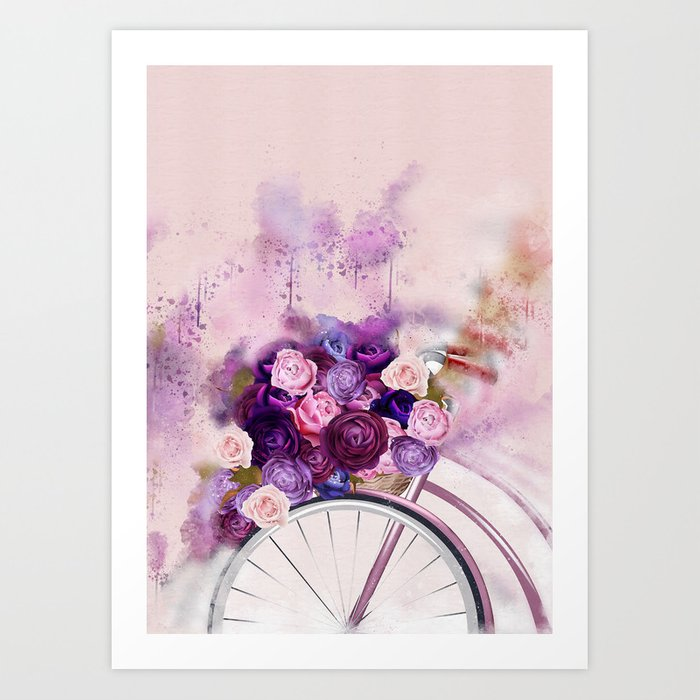 Vintag Bicycle and Flowers Art Print
