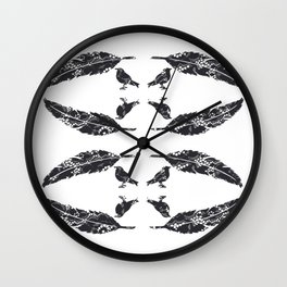 Feather & Bird - Black Lace Wall Clock