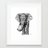 black Framed Art Prints featuring Ornate Elephant by BIOWORKZ