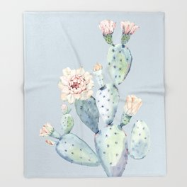 Prettiest Rose Cactus Blue Throw Blanket