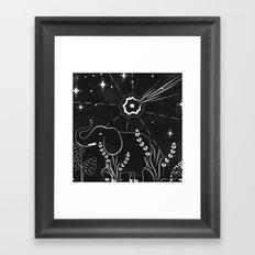 Elephant and comet Framed Art Print