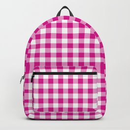 Shocking Hot Pink Valentine Pink and White Buffalo Check Plaid Backpack