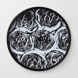 Rosettes Abstracted Black and White Wall Clock