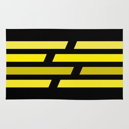 Yellow lines on black background Rug