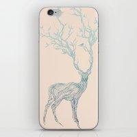 blue iPhone & iPod Skins featuring Blue Deer by Huebucket