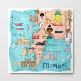 Illustrated Map Mumbai Metal Print