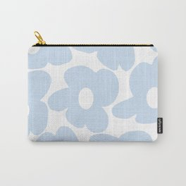 Large Baby Blue Retro Flowers White Background #decor #society6 #buyart Carry-All Pouch