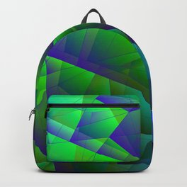 Abstract bright pattern of green and overlapping blue triangles and purple irregularly shaped lines. Backpack