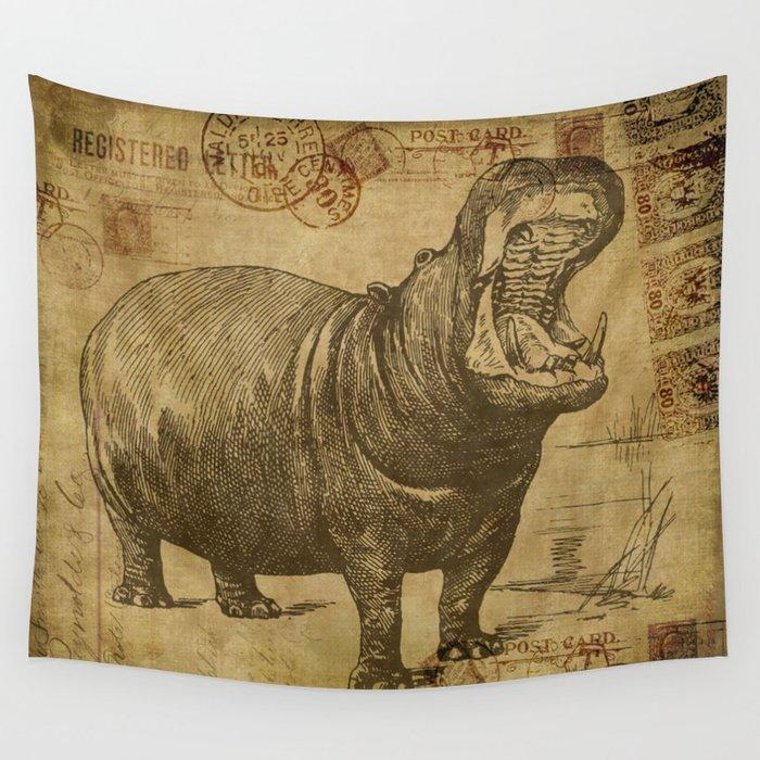Vintage retro Hippo wildlife animal africa Wall Tapestry