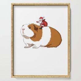 Christmas Guinea Pig and Santa Claus Serving Tray