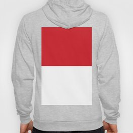 White and Fire Engine Red Horizontal Halves Hoody