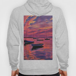 Sunset on the Mooring Field Boats Hoody