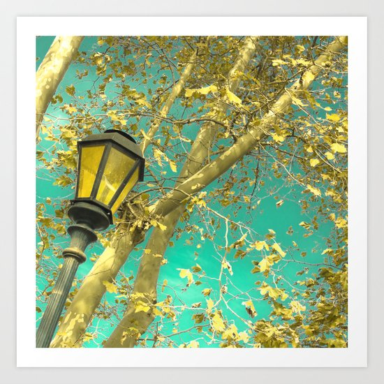 Autumn Gold Leafs in Turquoise Sky  Art Print