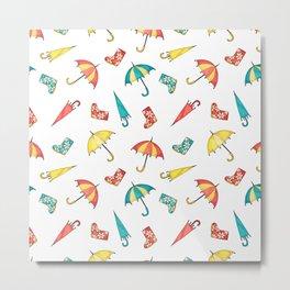 Modern autumn yellow red teal watercolor umbrella wellies Metal Print