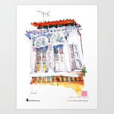 "Paul Wang, ""Shophouse At Purvis Street, Singapore"" Art Print"