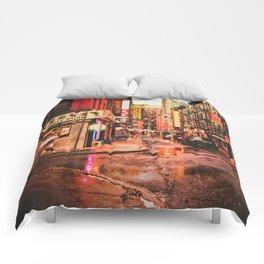 New York City Rain in Chinatown Comforters