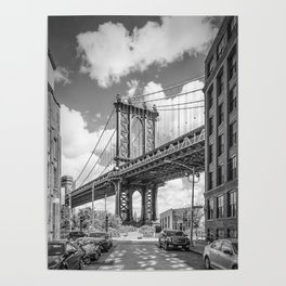 NEW YORK CITY Manhattan Bridge   Monochrome Poster