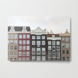 The Famous Row Of Amsterdam Photo   Historical Houses By The Canal Art Print   Dutch Travel Photography Metal Print