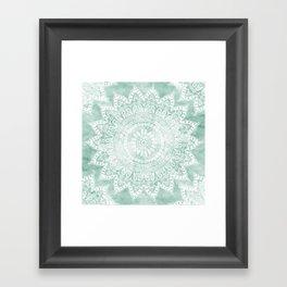 BOHEMIAN FLOWER MANDALA IN TEAL Framed Art Print