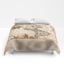 1658 Map of North America and South America with 2015 enhancements Comforters