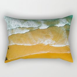 Ocean Waves Crushing On Beach, Drone Photography, Aerial Photo, Ocean Wall Art Print Decor Rectangular Pillow