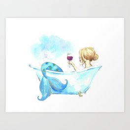 Bathtub Mermaid Art Print