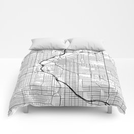 Denver Map, USA - Black and White Comforters