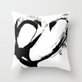 Brushstroke 6: a minimal, abstract, black and white piece Throw Pillow