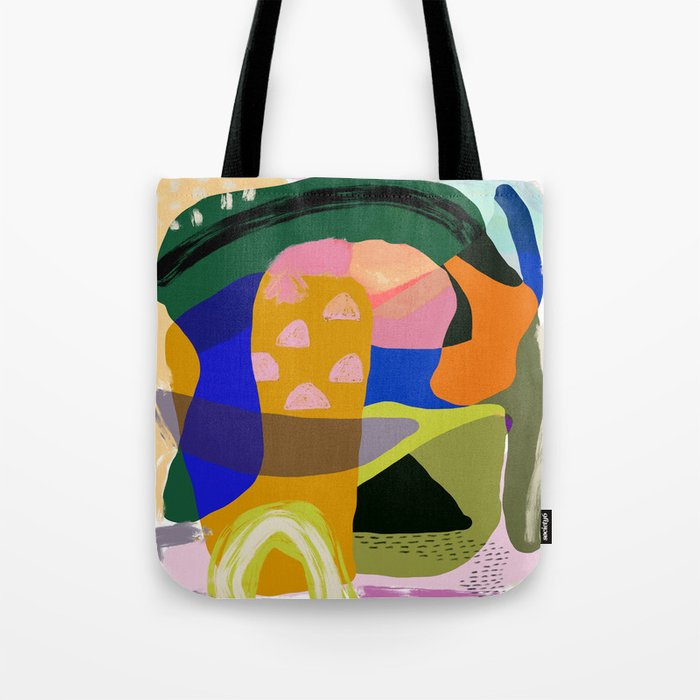Shapes and Layers no.20 - Abstract painting olive green blue orange black Tote Bag