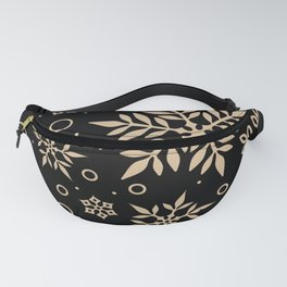 Christmas Winter Snowflake Wallpaper Pattern On Black Fanny Pack