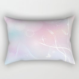 floral background with flowers, leaves, bird and branches of blooming tree. Stylized garden in tints Rectangular Pillow