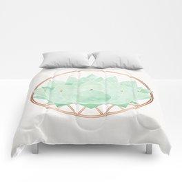 Green Succulent Watercolor Comforters