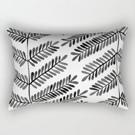 Black Leaflets Rectangular Pillow