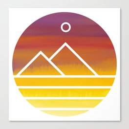 Minimalistic Watercolor Sunset Canvas Print