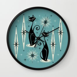Mid Century Meow Retro Atomic Cats on Blue Wall Clock