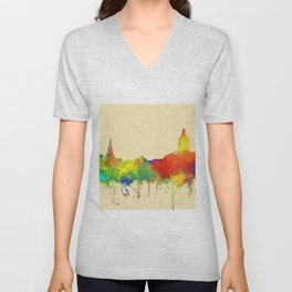 Annapolis city sky line watercolor -2 Unisex V-Neck
