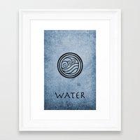 avatar the last airbender Framed Art Prints featuring Avatar Last Airbender - Water by bdubzgear
