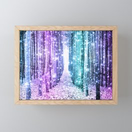 Magical Forest Lavender Aqua Teal Ombre Framed Mini Art Print