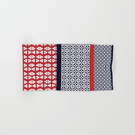 Japanese Style Ethnic Quilt Blue and Red Hand & Bath Towel