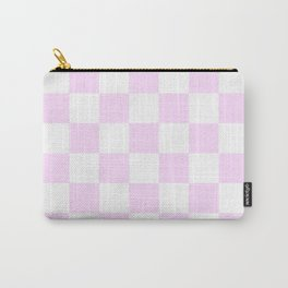 Checkered - White and Pastel Violet Carry-All Pouch