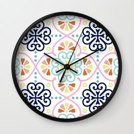 Pastel Moroccan Pattern Wall Clock
